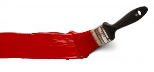 paint brush with red paint