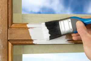 painting a wooden window frame white