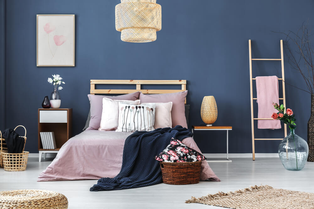 Cool blue bedroom with pink ladder