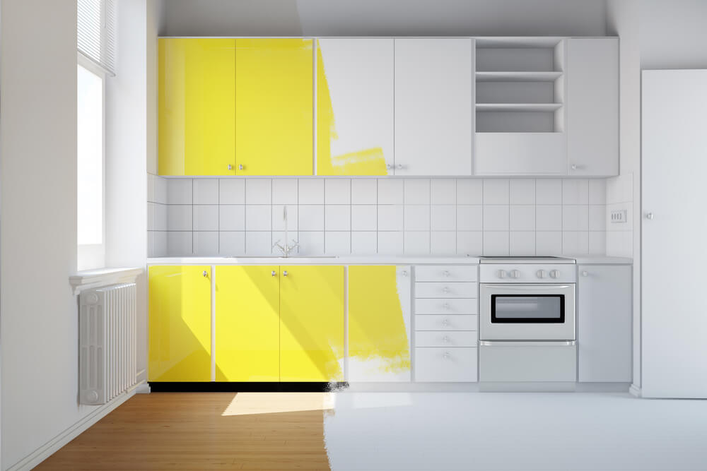 cabinets being painted yellow